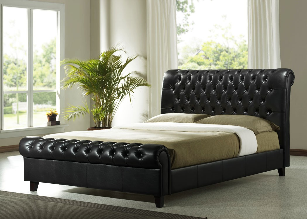 Richmond leather bed for Leather bedroom furniture