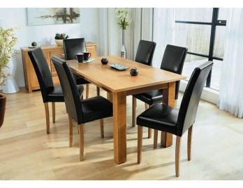 Astoria Oak Dining Table + 6 Chairs Faux Leather Chairs
