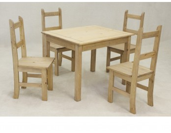 Distressed Pine Table and Four Chair Set