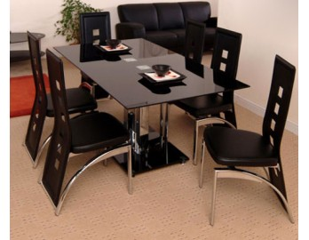 Dublin Glass Dining Set + 6 chairs