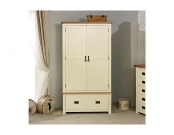 Cream Plus Oak 2 Door 1 Drawer Robe