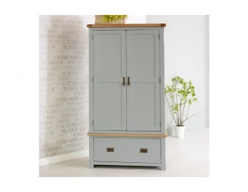 Grey Plus Oak 2 Door 1 Drawer Robe