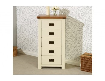 Cream Plus Oak 5 Drawer Chest