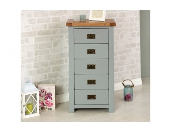 Grey Plus Oak 5 Drawer Chest