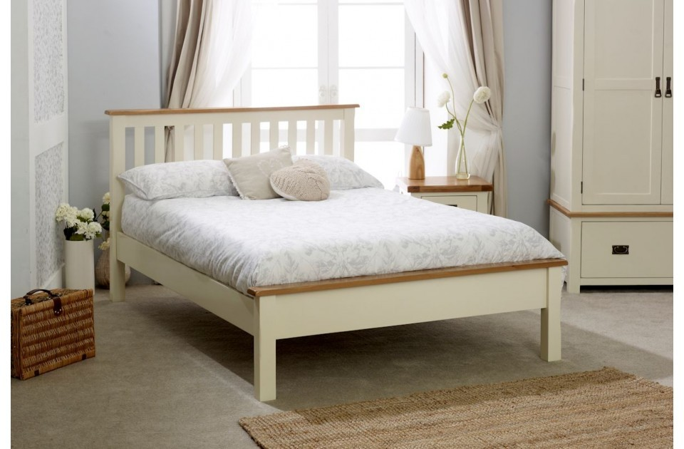Cream Plus Oak Low End Bed Frame