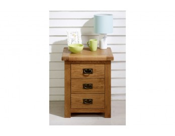 Malvern Oak 3 Drawer Bedside