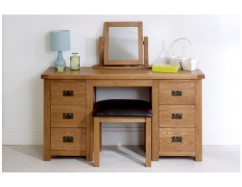 Malvern Oak 3 Drawer Double Dresser