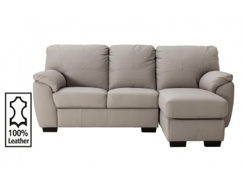 Collection Milano Leather Right Corner Chaise Sofa - Grey RRP £649.99